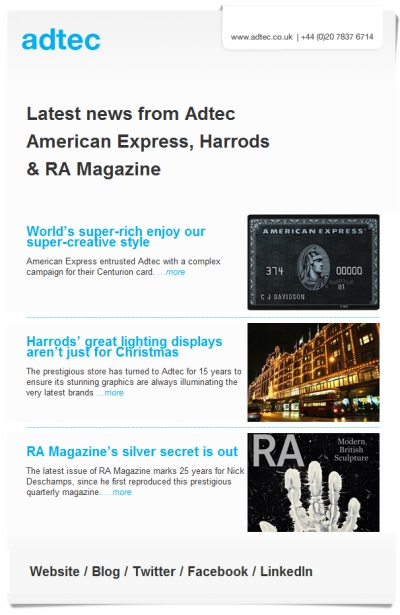 Latest news from Adtec: American Express, Harrods & RA Magazine