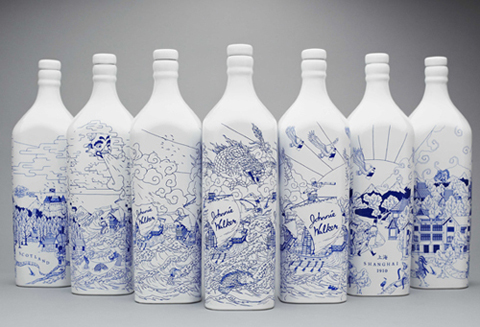 Johnnie Walker blue and white bottles