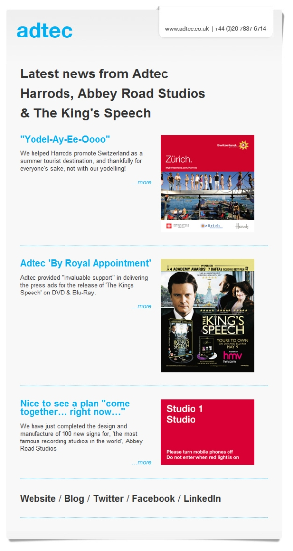 Latest news from Adtec: Harrods, Abbey Road Studios & The King's Speech